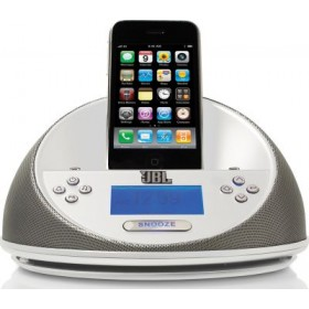 JBL OT-MICROWHT1T On Time Micro Loudspeaker dock and clock radio for iPod and iPhone, White, 18005007