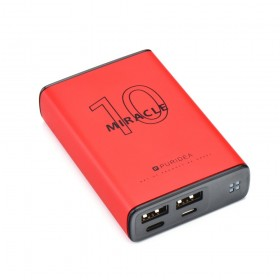 Puridea S15 Series 10000 mAh Dual USB Portable Charger External Battery Backup Pack, RED