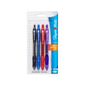 Paper Mate 89473 Profile Retractable Ballpoint Pens, 4 Colored Ink Pens