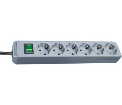 Brennenstuhl 1159540015 Eco-Line extension socket with switch 6-way silver grey 1,5m H05VV-F 3G1,5