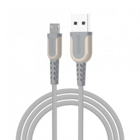 Porodo PD-LMETRP12 Metal Braided Lightning Cable, 1.2 Meter, Grey