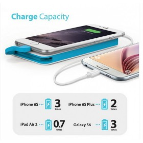 iLuv myPower 50L Compact Portable 5000MAH Power Bank built lightning cable , Black