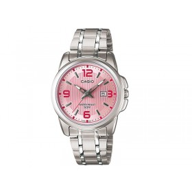 Casio LTP-1314D-5AVDF+K Women Silver Stainless-Steel Quartz Watch with Pink Dial