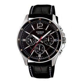 Casio MTP-1374L-1A+K Men's Standard Leather Band Multi-Function Black Dial Watch, MTP-1374L-1AV