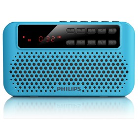 Philips Portable speaker AEM120BLU FM, Digital tuning 10 one touch presets USB Direct, Micro SD Rechargeable battery