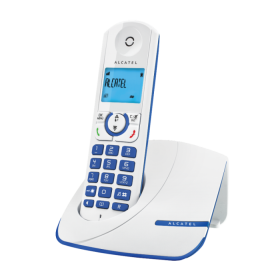 Alcatel F330 Versatis Experience amazing design and colors Cordless Phone, White/Blue