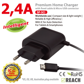 Vanson SP-5CI 2,4A Intelligent Home Charger with 1m of fixed cable and Micro USB connector for Smartphone and Tablet