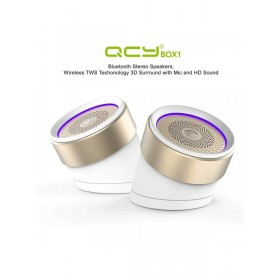 QCY BOX1 PORTABLE TWIN BLUTOOTH SPEAKER, WHITE/GOLD
