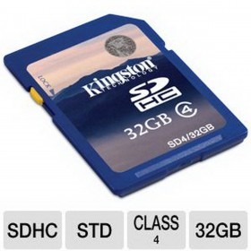 Kingston 32GB SDHC CLASS 4 FLASH CARD SD4/32GB