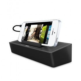 iLuv Modern Box Portable Speaker Stand for most smartphones or small MP3 players-Black